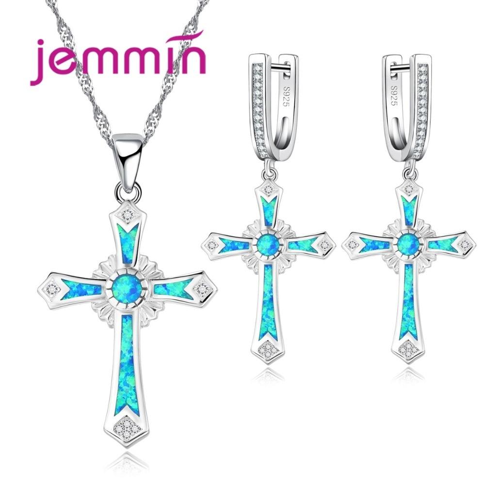цена на Jemmin Retro Style Cross Shape Fine 925 Sterling Silver Blue Fire Opal Jewelry Sets For Women Wedding Pendants Neckalce Earrings