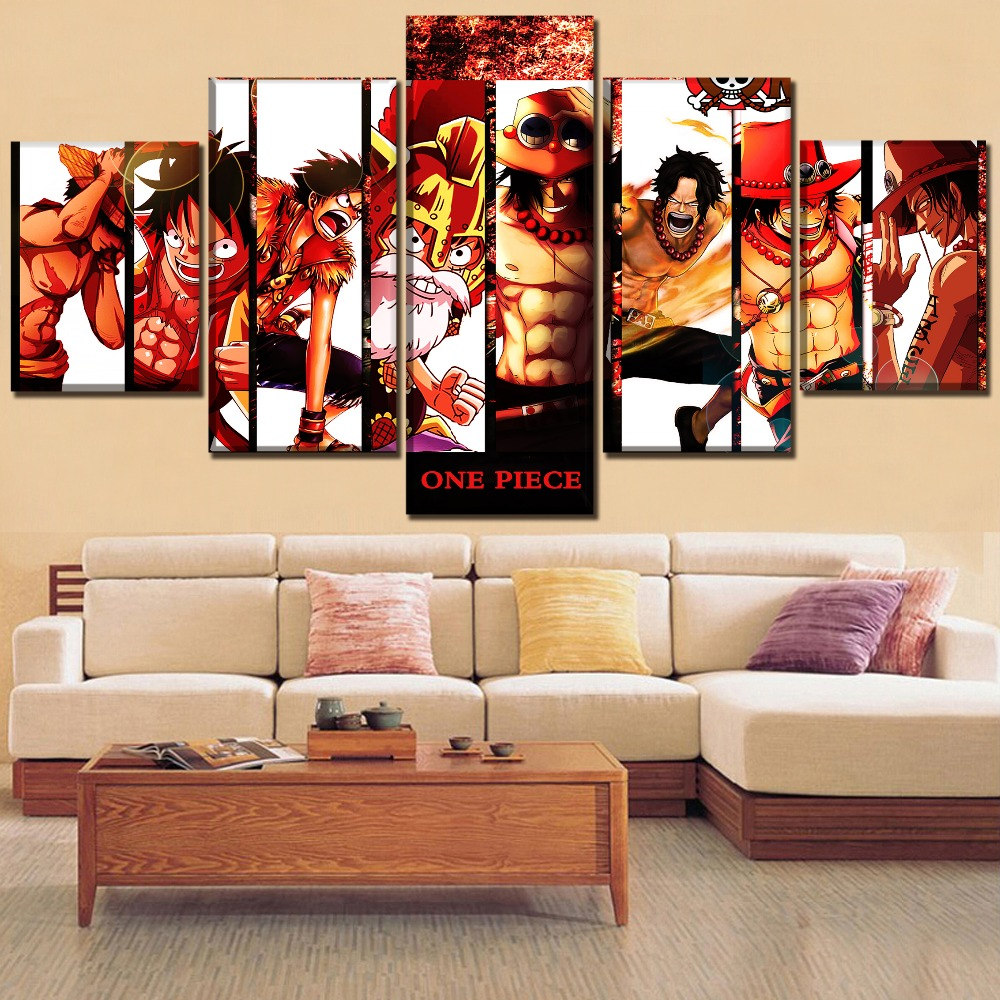 Modern Wall Art Home Decor 5 Panel Monkey Luffy And Portgas Ace Poster One Set Anime Piece Painting Top-Rated Canvas Print