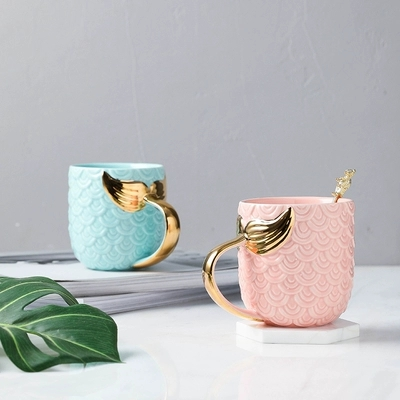 2019 new style Nordic Creative Ceramic Cups <font><b>CoffeeCups</b></font> Water Cups Golden Mermaid Mark mugs Couple mug Girl Heart teacup image