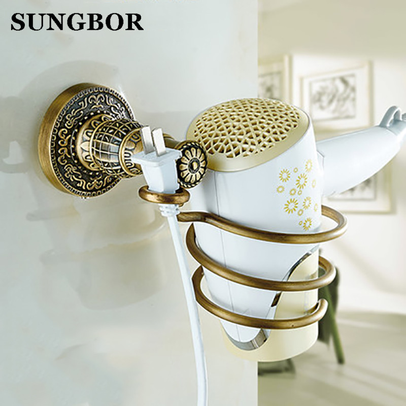 Euro Antique Brass Bathroom Hair Dryer Holder Wall Mounted Commodity wall hair dryer shelf Holder SL-5904F antique brass wall mounted hair dryer holder bathroom hair blower rack