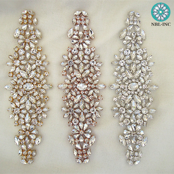 10PCS Hand beaded bridal crystal rhinestone applique iron on wedding for wedding dresses WDD0633