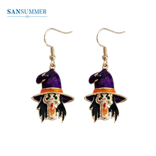 SANSUMMER 2019 Witch Earrings Trendy Cartoon Blame Personality Drop Earring Jewelry Fashion Dangle Accessory 3142