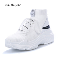EARTH STAR Autumn Casual White Shoes Fashion Brand Sneakers Lady Platform chaussure footware Breathable Good Quality Sock Shoes