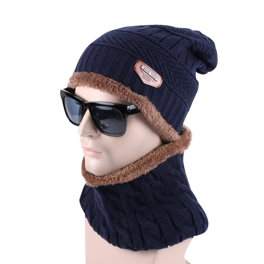 wholesale men fashion winter hat Knitting warmer man beanies set cheap promotion fashion skullies hats