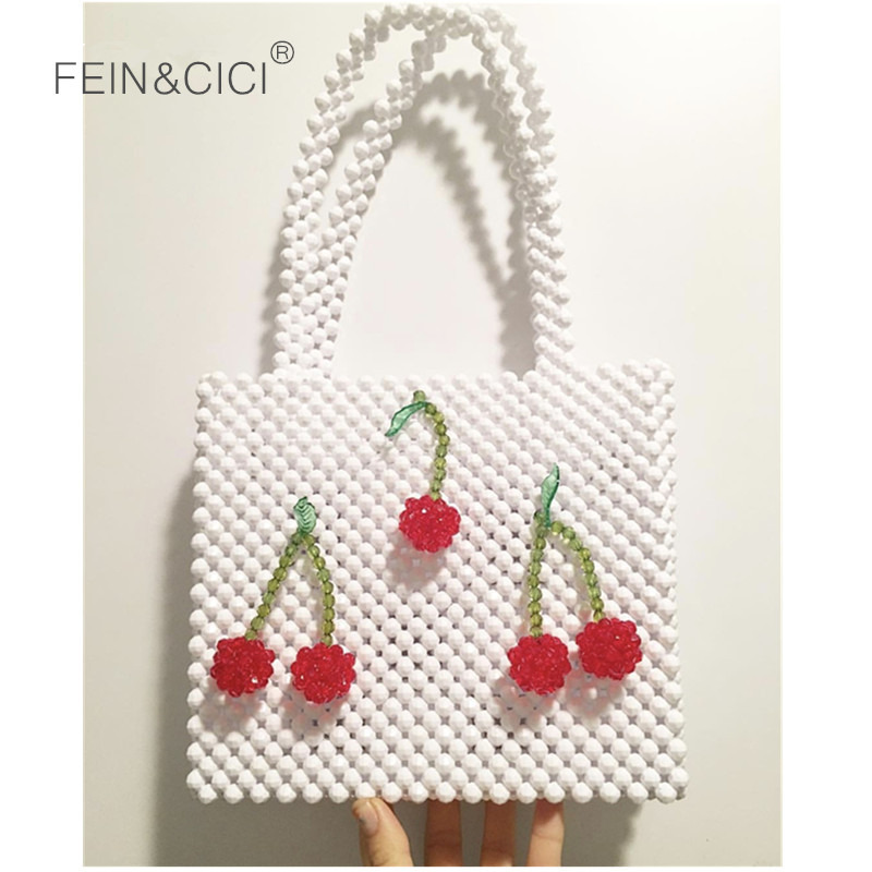 Pearls bag beaded cherry box totes bag women vintage evening party handbag 2019 summer bag luxury