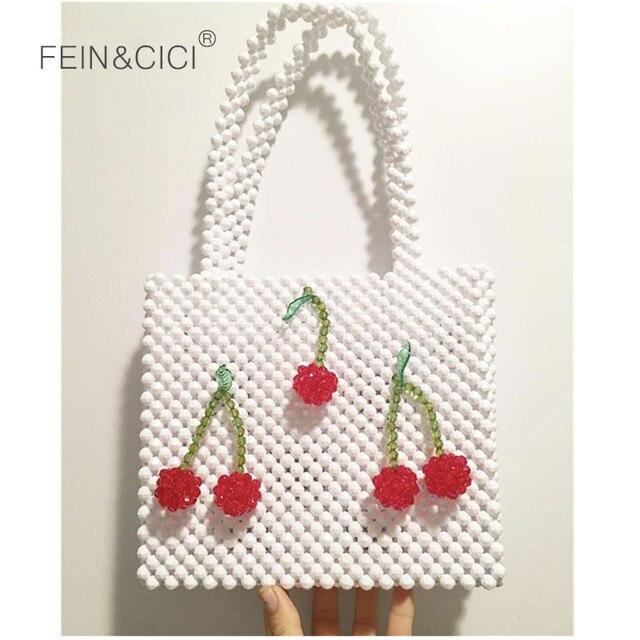 Perlas con reborde bolsa cereza caja de bolsas bolso de las mujeres de noche vintage bolso fiesta de verano de 2019 bolsa de marca de lujo blanco negro gota nave