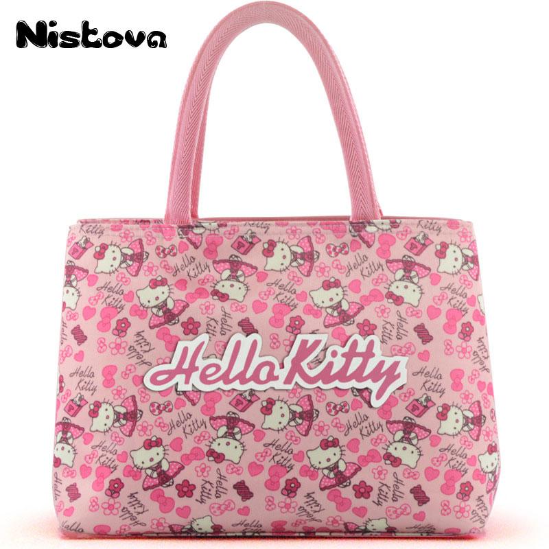 Cute Hello Kitty Double Layer Mummy Bag Girl's Women's High Capacity Travel Casual Messenger Tote Organizer Oxford Cloth Handbag