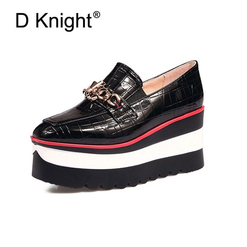 Platform Pumps Shoes Women Slip On Metal Chain Decoration Moccasin Casual Shoes British Wedges Loafers Shoes
