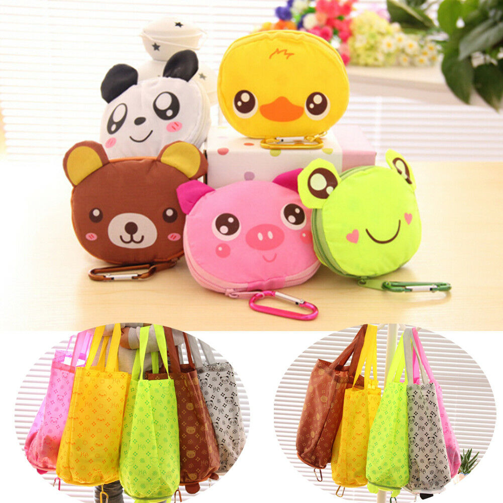 Cute Cartoon Animal Foldable Shopping Bag Portable Recycling Reusable Ladies Tote Bag Gift Bag