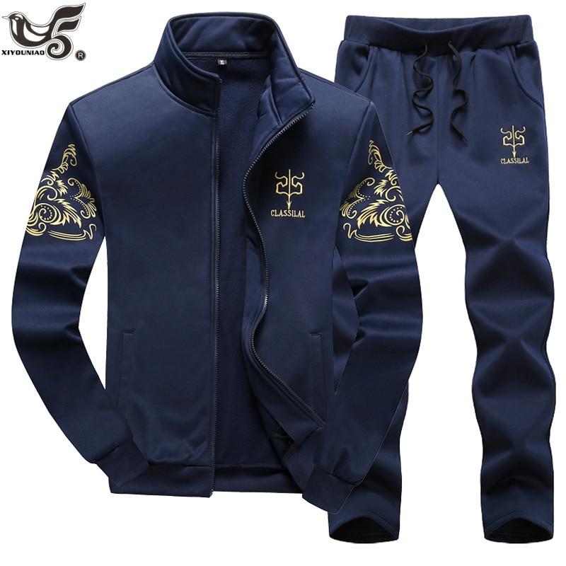 XIYOUNIAO Plus Size M~7XL 8XL 9XL New Men's Sportwear Suit Sweatshirt Tracksuit Hoodie Men Casual Outwear 2PC Jacket+Pants Sets