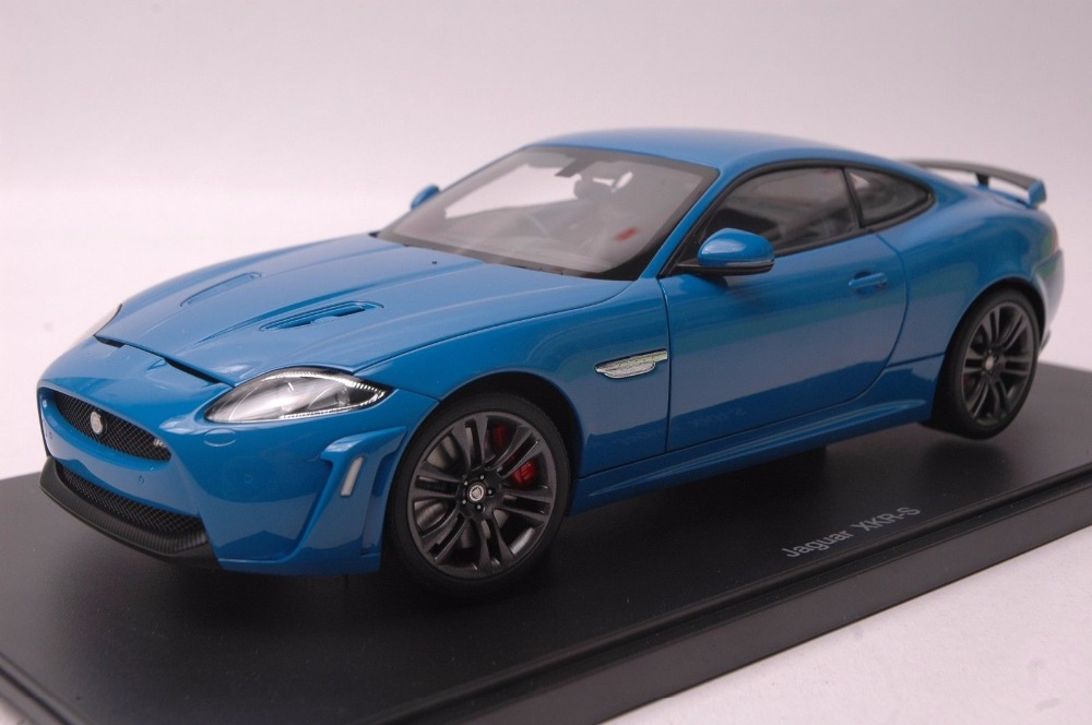 1:18 Diecast Model for Jaguar XKR-S Blue Coupe Alloy Toy Car Miniature Collection Gift XKR S ...