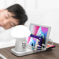 Wireless Charger Station LED Night Light 3 Port USB Charging Dock Stand QC 3.0 Quick Charger for iPhone Android Phone Tablet