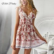 WildPinky Elegant V-neck Floral Print Women Dress Spaghetti Strap Sundress Summer Boho Ladies Short Mini Beach Dress Vestidos wildpinky bohemian style women summer casual short sleeve v neck spaghetti strap evening party print short mini dress vestidos