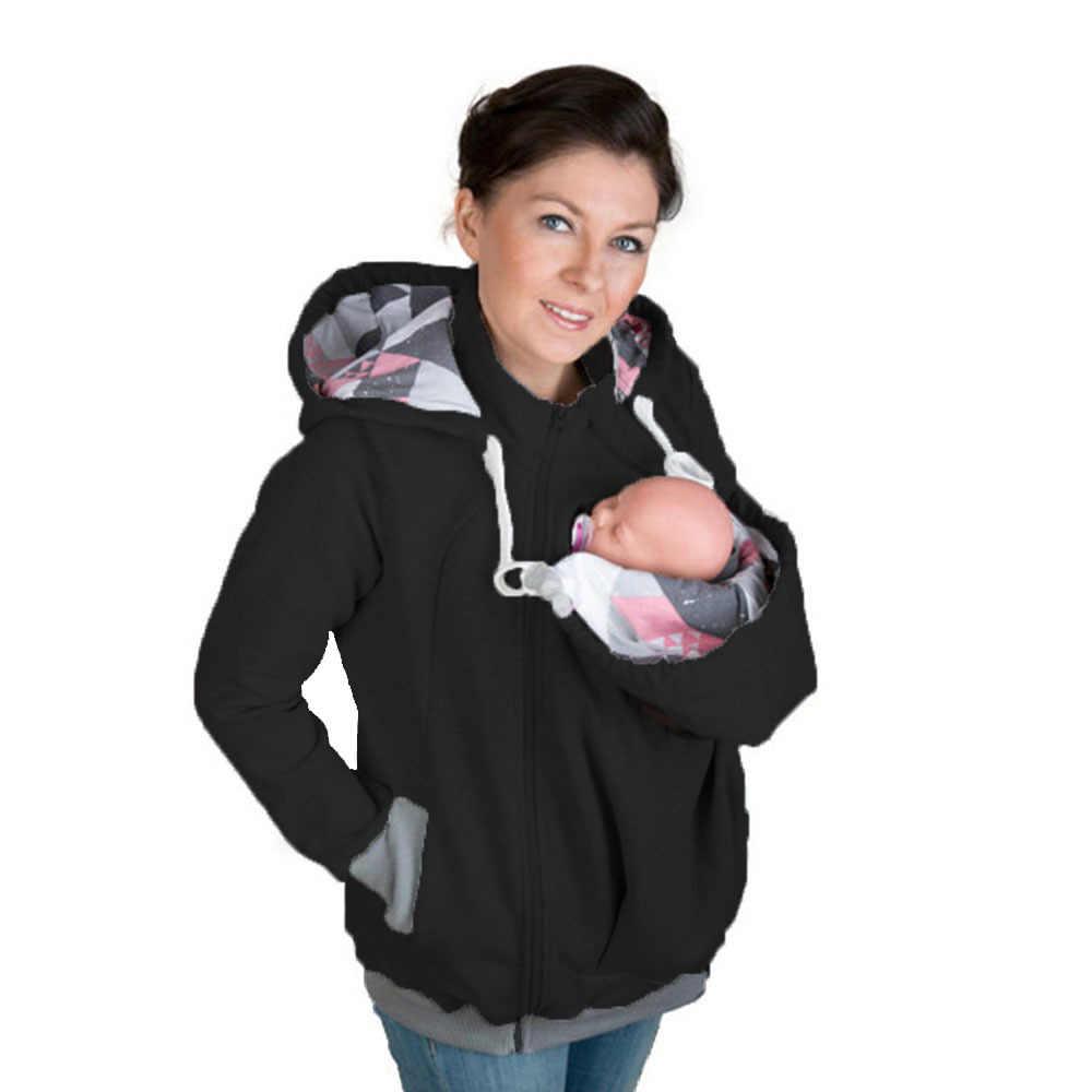 Фирменная Новинка модный, для ношения ребенка куртка худи кенгуру зимняя теплая верхняя одежда для беременных с капюшоном Беременность одежда Размеры S-2XL