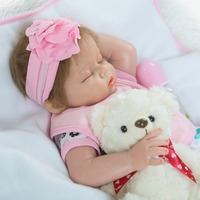 22 baby reborn dolls half silicone body reborn babies dolls for child gift with pacifier bear doll bebe alive bonecas