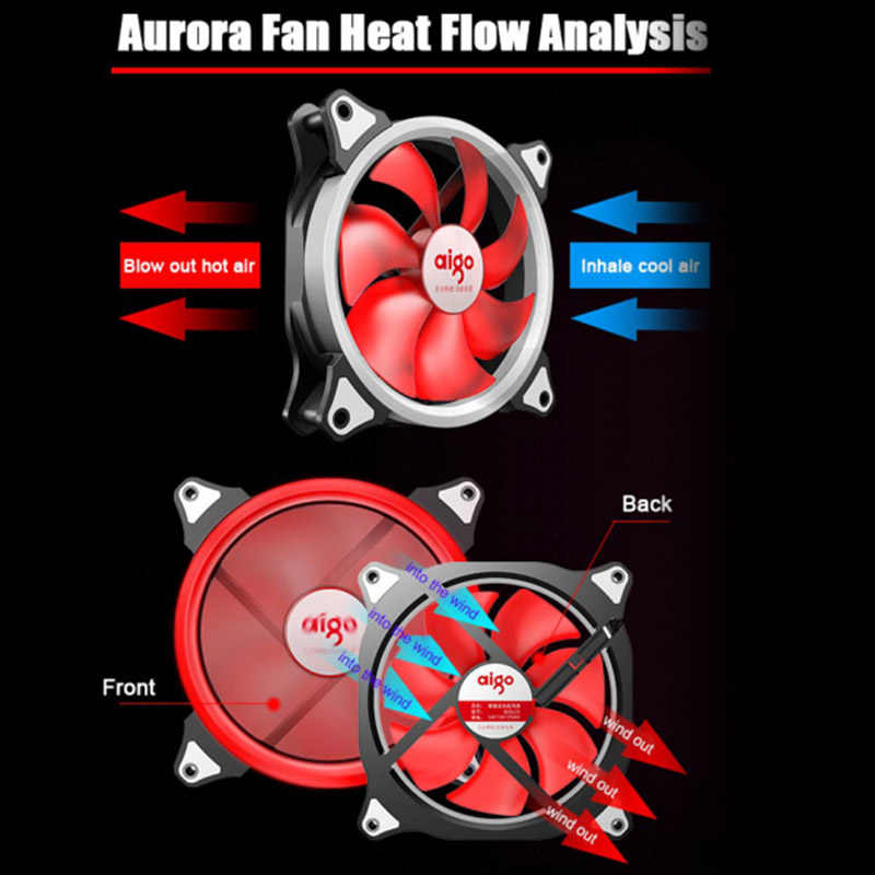 Aigo LED Case Fan 140 Mm Penggemar Diam Bantalan Lengan 12 V 3pin + 4pin PC Desktop Fan Komputer Pendingin cooler Pendingin Radiator