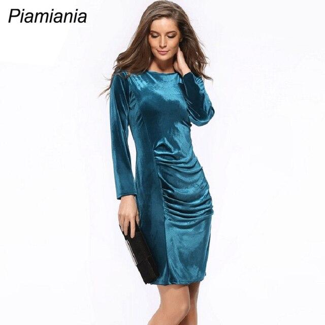 Women Winter Tights Velvet Dress Elegant Bodycon Long Sleeves
