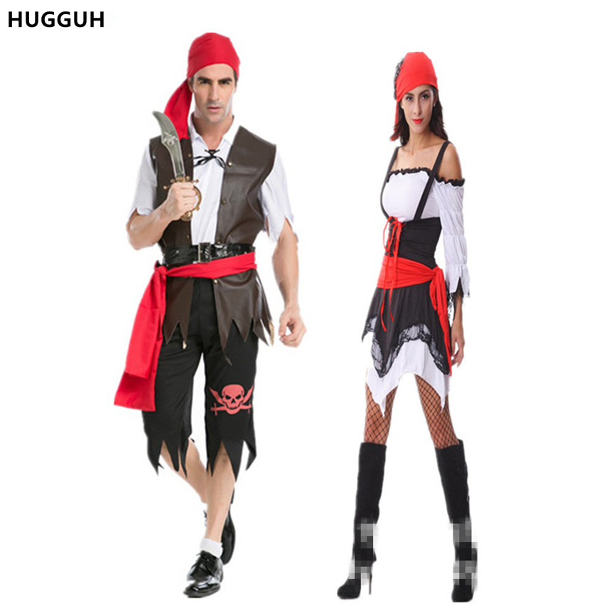 hugguh brand new hot sale halloween costumes lovers pirate cosplay costume girls dress women exotic apparel - Sale Halloween Costumes