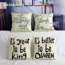 Simple Letter Cotton Linen Cushion Cover Sweet Pillow Case Love King Queen Home Decoration Sofa Chair Seat Covers
