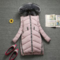 Fashion Women Long Coat With Circle Rings Ladies Hooded Jackets Fur Collar Female Outfits Quilted Outerwears Parkas
