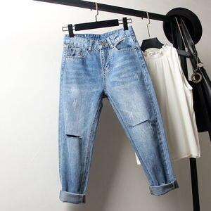Image 5 - Vintage Boyfriend Jeans Per Le Donne A Vita Alta Allentato Strappato Jeans Femme Denim Pantaloni Stile Harem Streetwear Più Il Formato Mamma Jeans 4XL Q1413