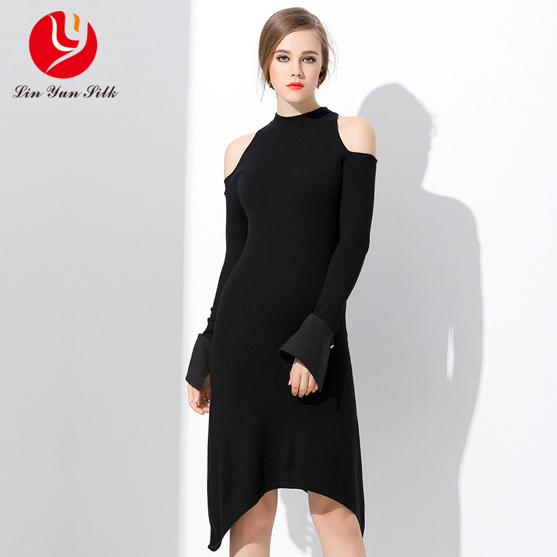 LINYUN 2018 autumn fashion women off shoulder knitted dresses sexy flare sleeve sweater dress casual Tunic Irregular dress
