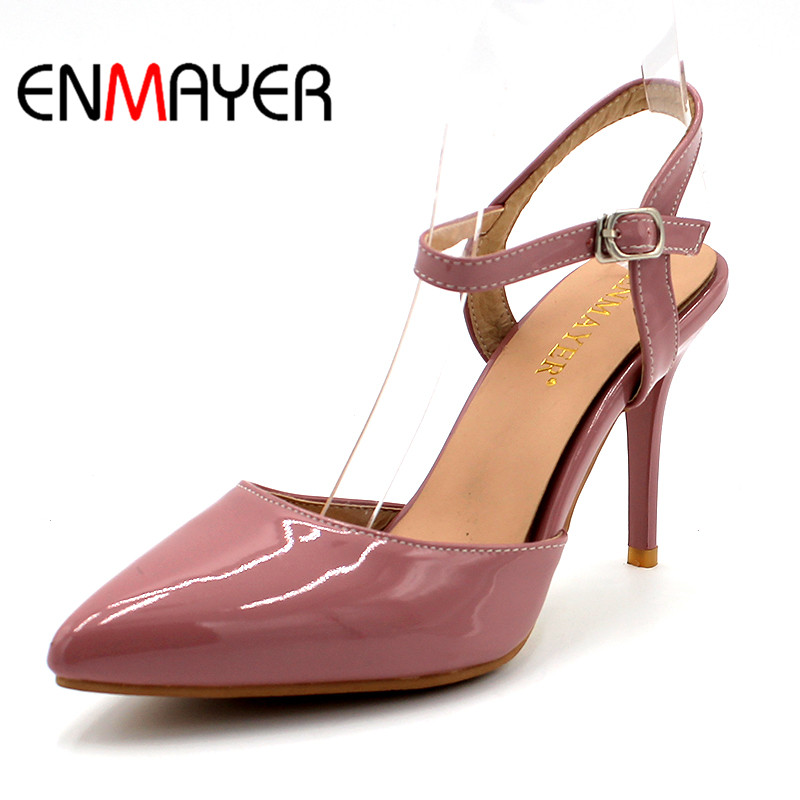 ENMAYER Buckle Strap Shoes Women High Heels Spring&Antumn Pointed Toe Solid 2018 Classic Stilettos Casual Pumps Shoes Size33-47 women pumps flock high heels shoes woman fashion 2017 summer leather casual shoes ladies pointed toe buckle strap high quality