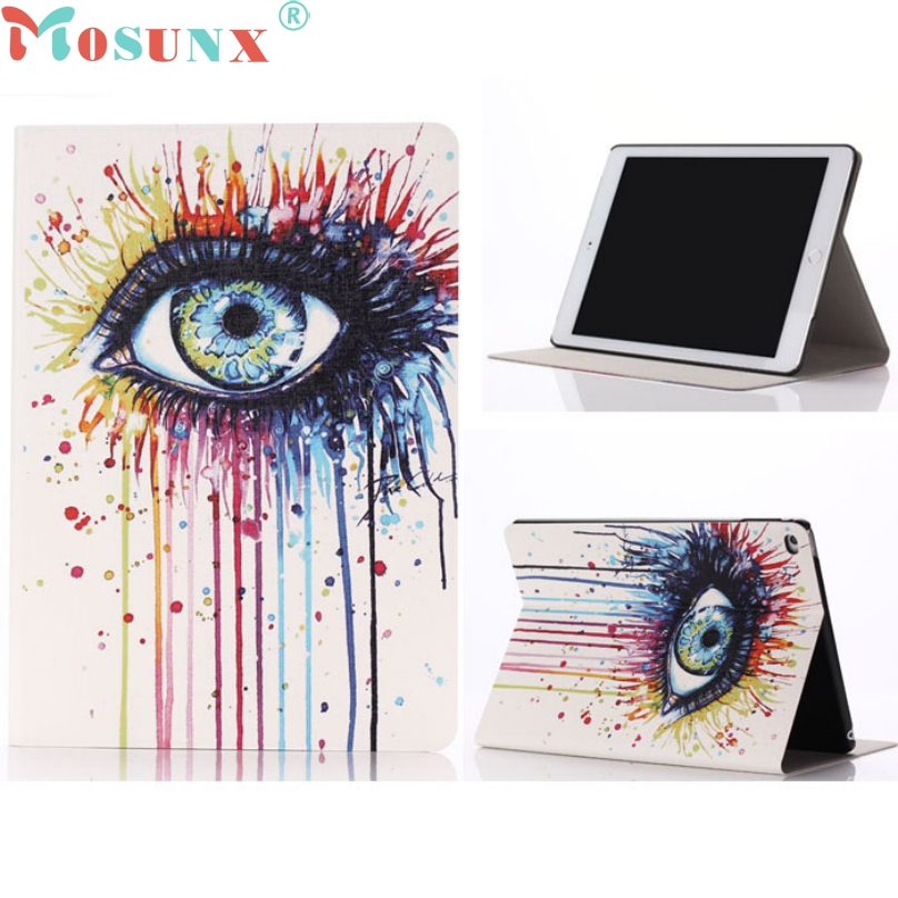 Special Design Big Eyes Painted Art Pattern Leather Stand Flip Case Protective Shell/Skin Cover For iPad 6 Air 2 Top Quality special genuine natural bamboo wood case cover skin protection for ipad air 5 mar15