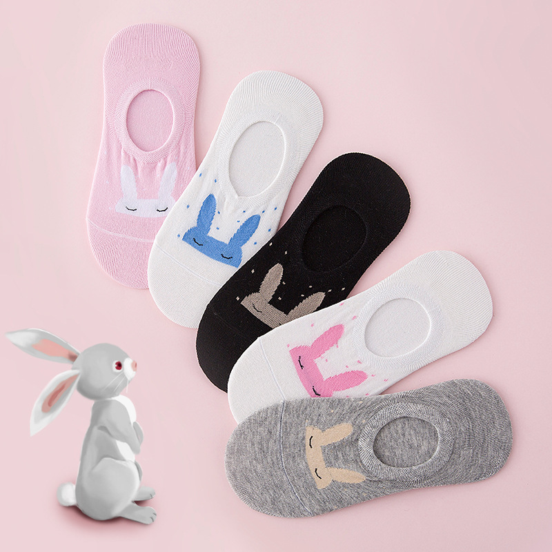 Ear Rabbit Invisible Short Woman Sweat Comfortable Cotton Girl Boat Socks Ankle Silicon Gel Low Female Hosiery 1pair=2pcs Ws167 #1