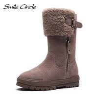 Smile Circle/женские зимние ботинки; замшевые кожаные ботинки на толстой подошве; модная Высококачественная теплая обувь на плоской платформе;