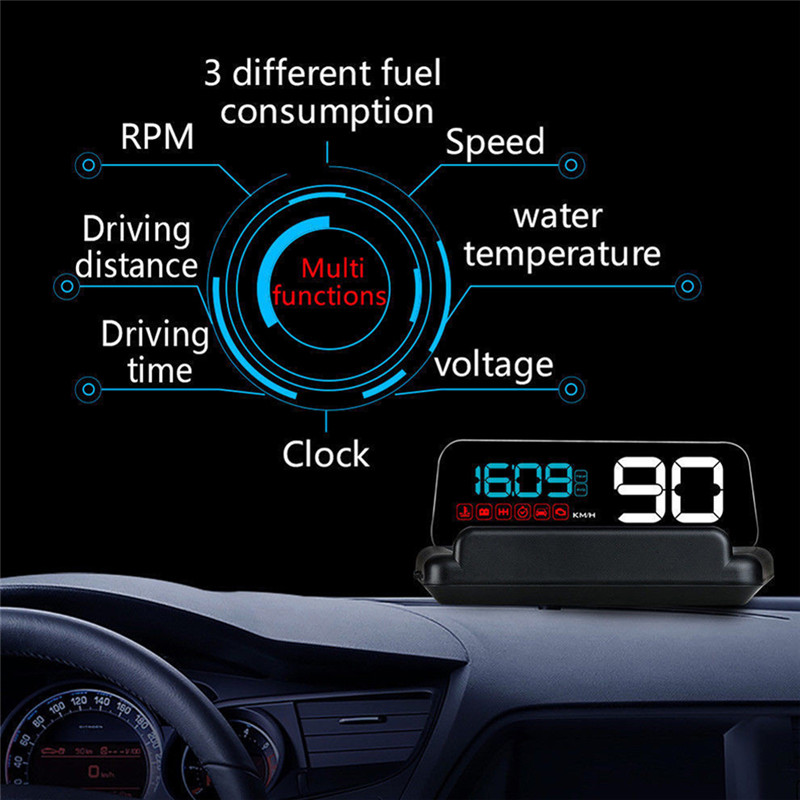 Speed Warning System C500 Car HUD OBD2 Mirror Hud Head Up display RPM Speedometer Projector c500 obd2 car speed projector hud head up display digital speedometer clock rpm for universal obd ii car electronics accessories