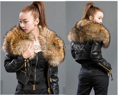 New Arrival Luxury Genuine Leather Jackets For Ladies Big Fur Collar