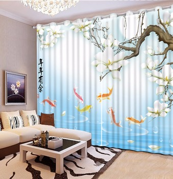 Chinese Luxury 3D Curtains For Living Room Photo Window Curtain fish flower Decoration Curtains For Hotel Home Office