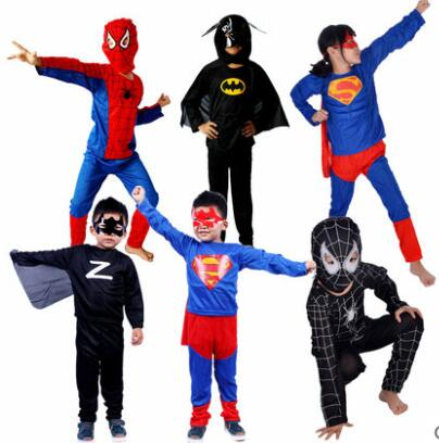 Black Red boy girl Spiderman Costume KIDS Child children Batman Superman zorro Halloween Costumes Carnival Costume Capes Mask