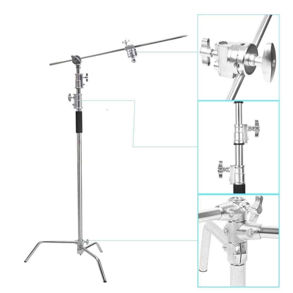 Soporte de fondo de luz de acero inoxidable resistente soporte en C con brazo de sujeción y cabezal de agarre para reflectores de fotografía/Softboxes