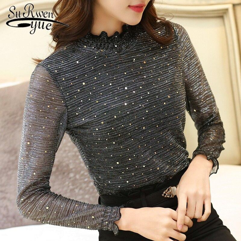 Autumn Fashion Woman   Blouses   2018 Lace   Blouse     Shirt   Long Sleeve   Shirt   Women Slim Bottoming Lace   Blouse   Women   shirt   Blusa 1107 40