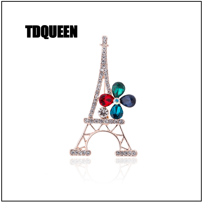 TDQUEEN New Fashion Paris Eiffel Tower Crystal Brooches For Women Jewelry Commemorative Brooches pins Gift (5)
