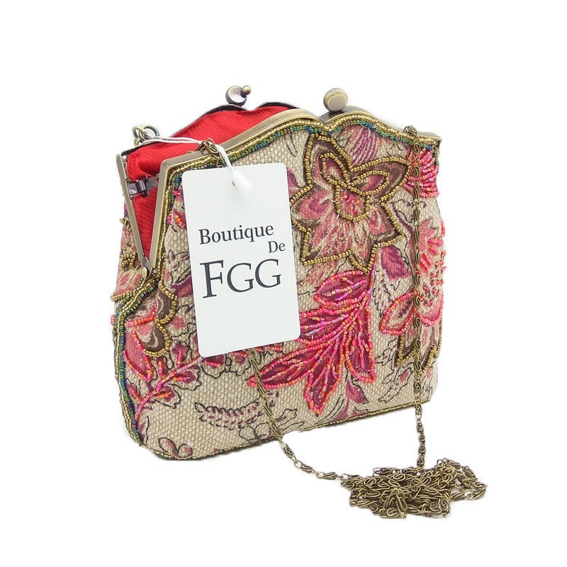 Boutique De FGG Chinese Style Embroidery Floral Women Evening Purse Women's Evening Bags