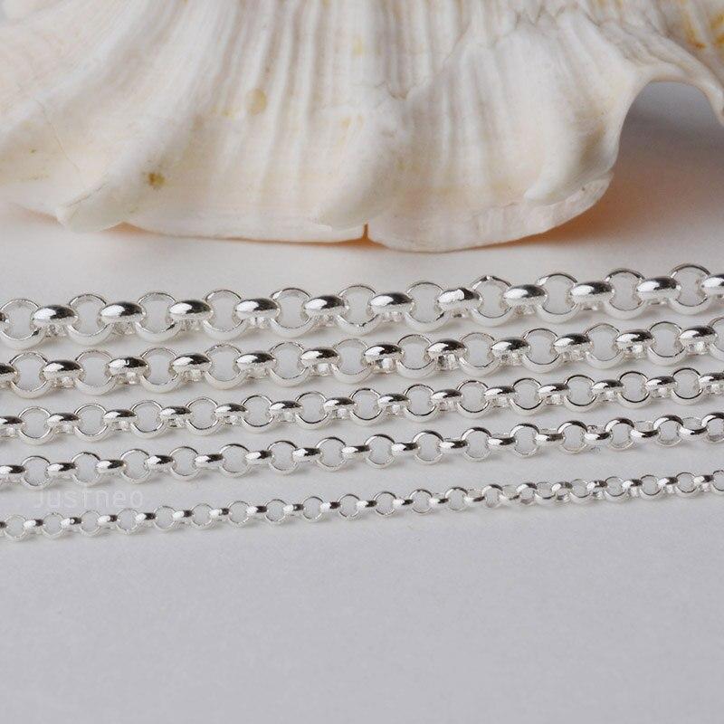 Solid 925 prata esterlina rollo/rolo corrente solta corda link para joias diy componentes e descobertas