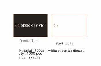 custom logo made cardboard gloss black with white letter print  3*2CM retangular shape products luggage hang tag 1000pcs / lot