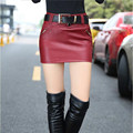 2016 New Fashion Slim Thin Package Hip Women Skirt Short Plus Size Leather Skirt Sexy Mini Pencil Skirt Red And Black Skirt XL
