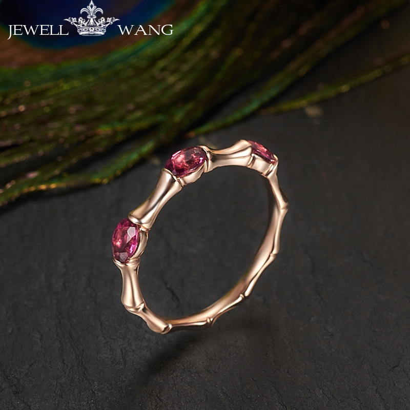 JEWELLWANG Natural Rubellite Rings for Women Genuine 18K Rose Gold Jewelry Solitaire Rings Shiny Fine Anniversary Gift Rose Gold