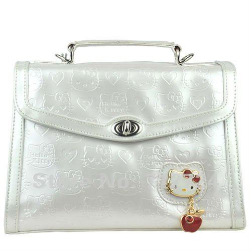 22f63f361 Fashion Hello Kitty White Patent Leather Girl's Handbag Purse Shopping Tote  Promotions Gift hk113