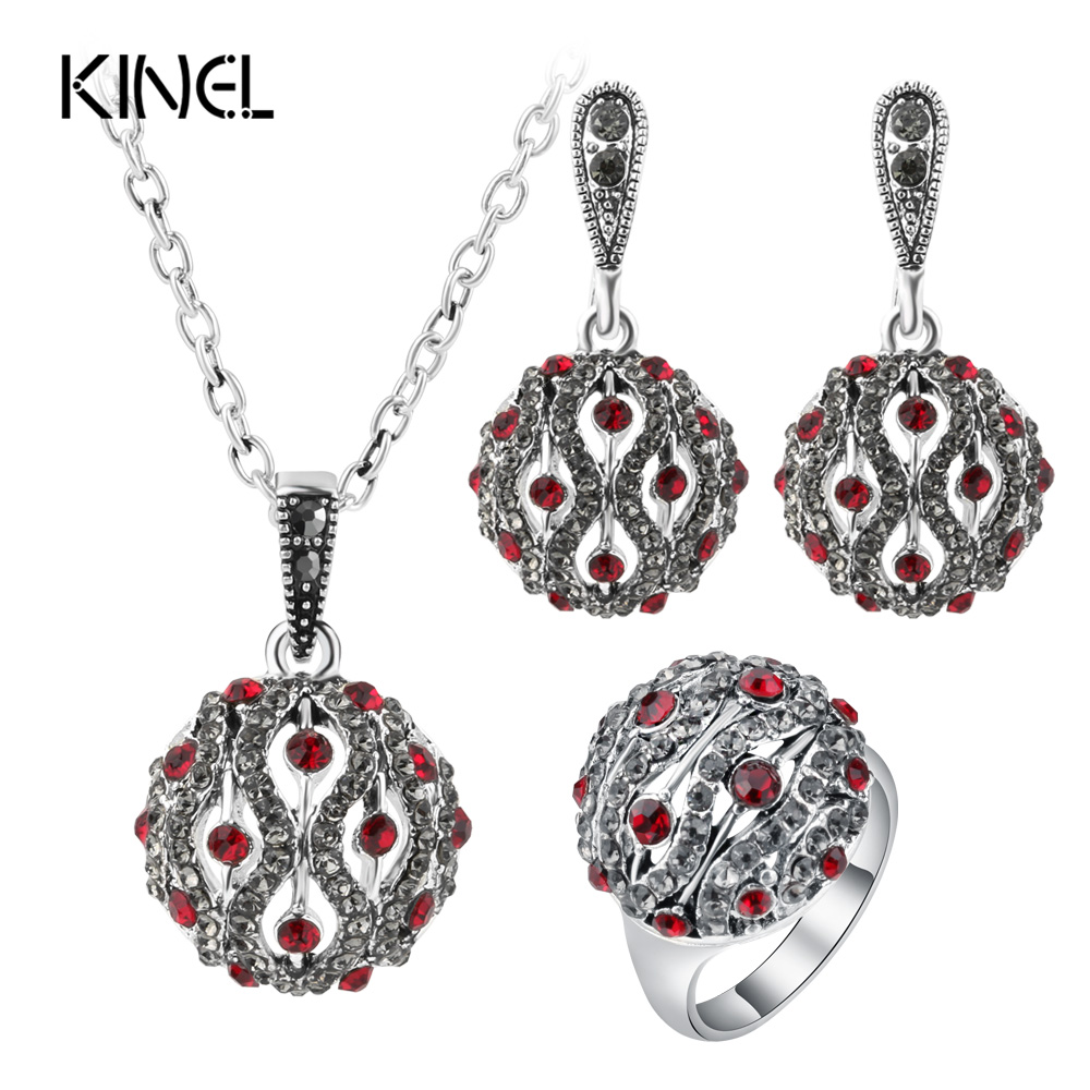 Kinel Fashion Crystal Ball Jewelry Sets For Women Silver Color Round Ring Earring And Pendant Necklace Wedding Jewelry Set