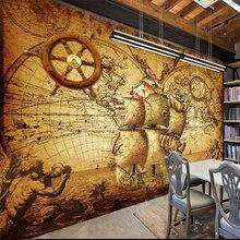 Mural Retro del tema del mapa del mundo náutico de Well Yu, mural grande personalizado, papel pintado verde, papel de parede para cuarto
