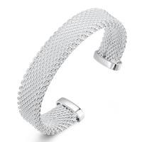 Western Style Opening Mesh Weaving Bangles Jewelry Silver Color Bracelets Bangles Women B029