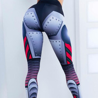 2018 New Women Blue Printed Fitness Leggings Fashion Elastic Slim Jeggings Dry Quick Push Up Sporting