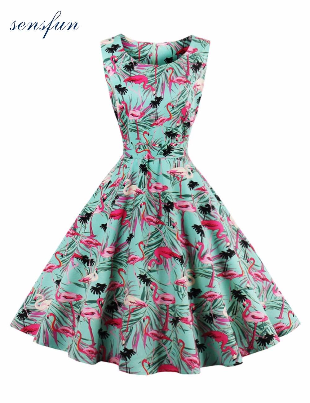 Sensfun Summer Dress Women Cotton Floral Print 1950s 60s Vintage Dress Elegant Scoop A Line Vestido Retra Party Dresses Sundress
