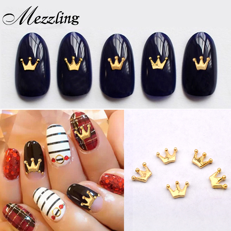 100 pieces New Gold Metal Charm Crown Design Nailart Studs DIY 3d Nail Accessories Beauty Nail танцевальный инвентарь dance charm 100