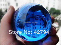AA Asian Rare Natural Quartz Blue Magic Crystal Healing Ball Sphere 40mm Stand